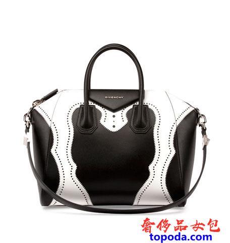 Givenchy Antigona中号两色激光切割皮革公文包