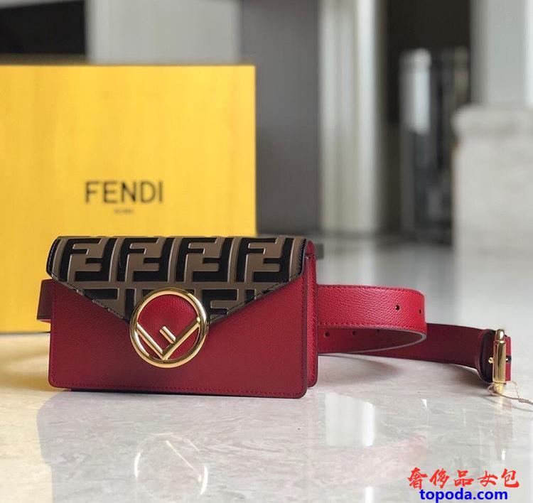 芬迪Fendi红色皮革腰包