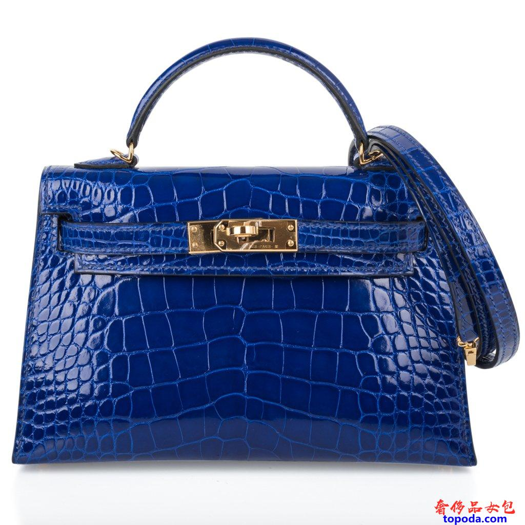 Hermes Kelly 20 Mini Sellier蓝色鳄鱼皮
