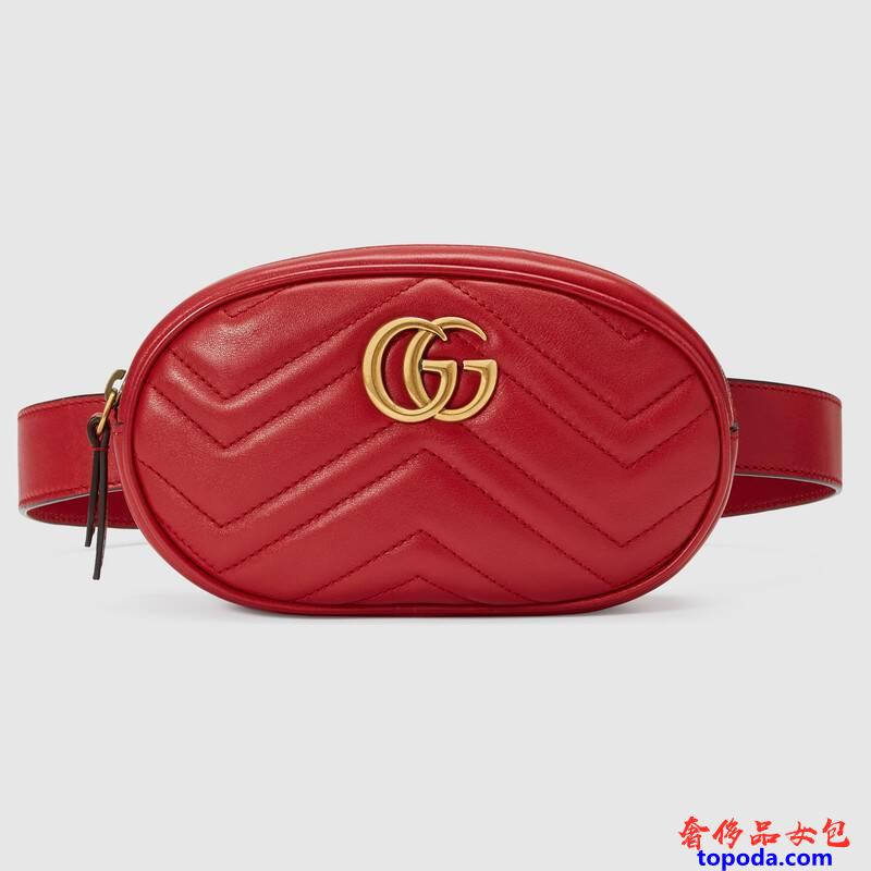 古驰GG MarmontMatelasse皮革腰包