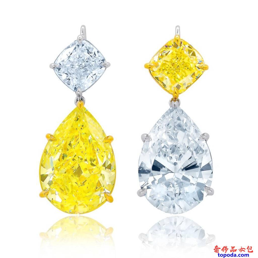 黄色和白色钻石耳环