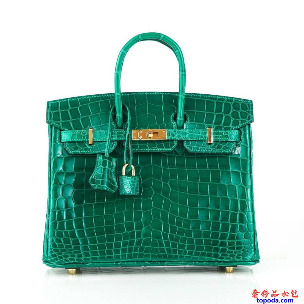 爱马仕Birkin 25绿宝石鳄鱼皮包