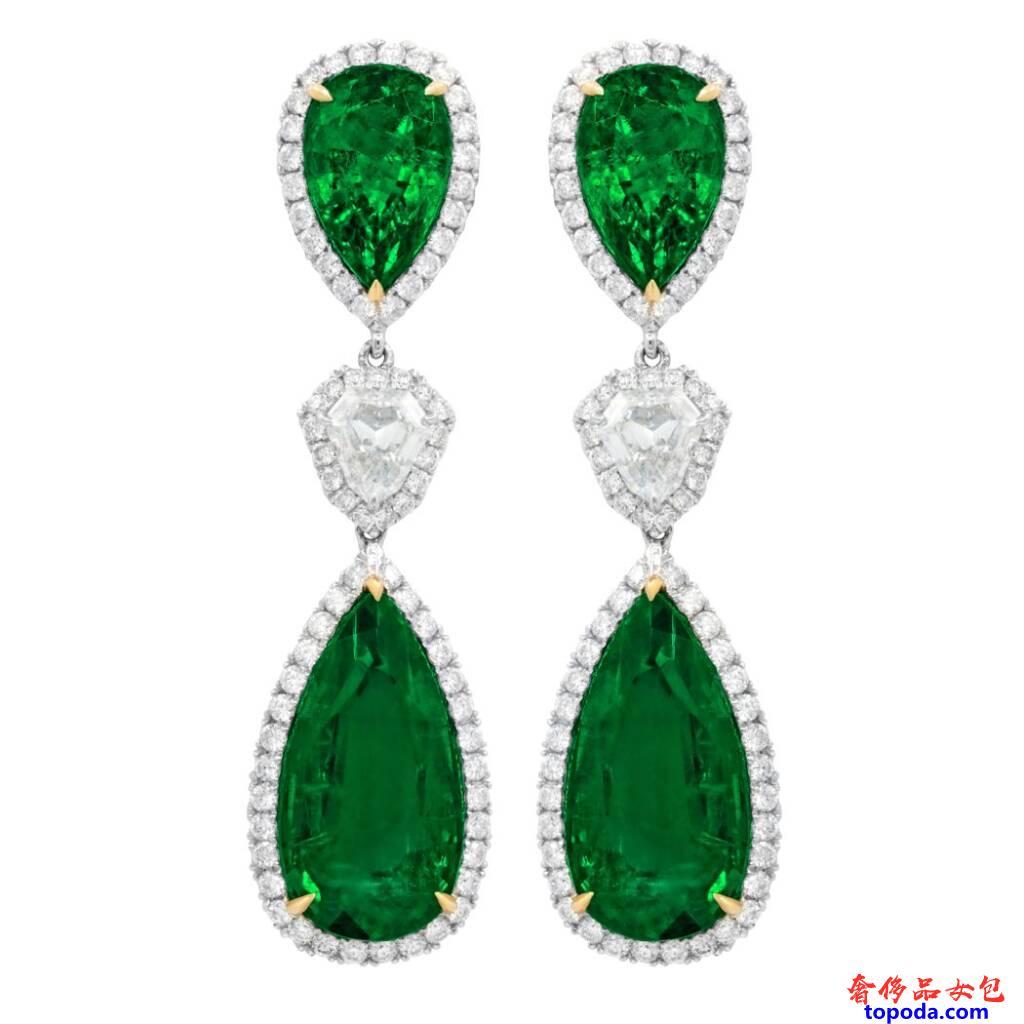 祖母绿钻石耳环