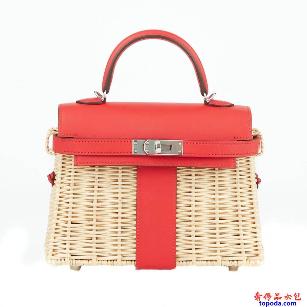 爱马仕(Hermes)Rouge de Coeur Swift皮革迷你野餐包
