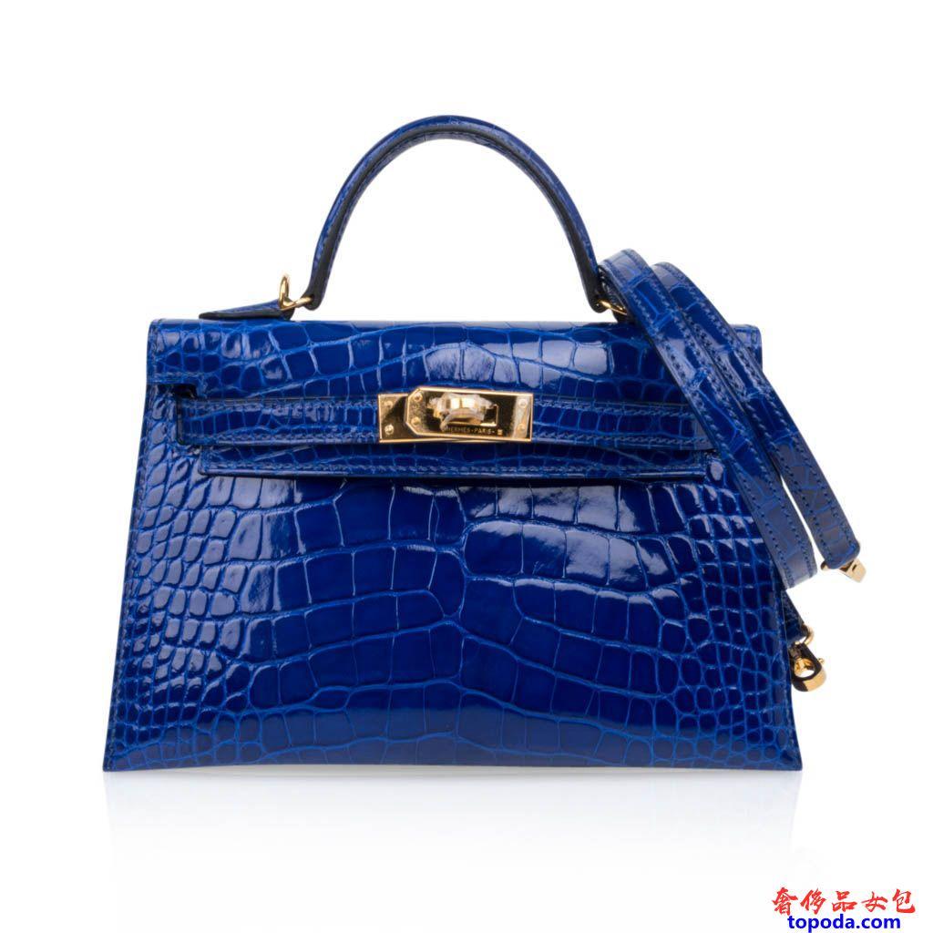 爱马仕凯莉20鳄鱼皮蓝色