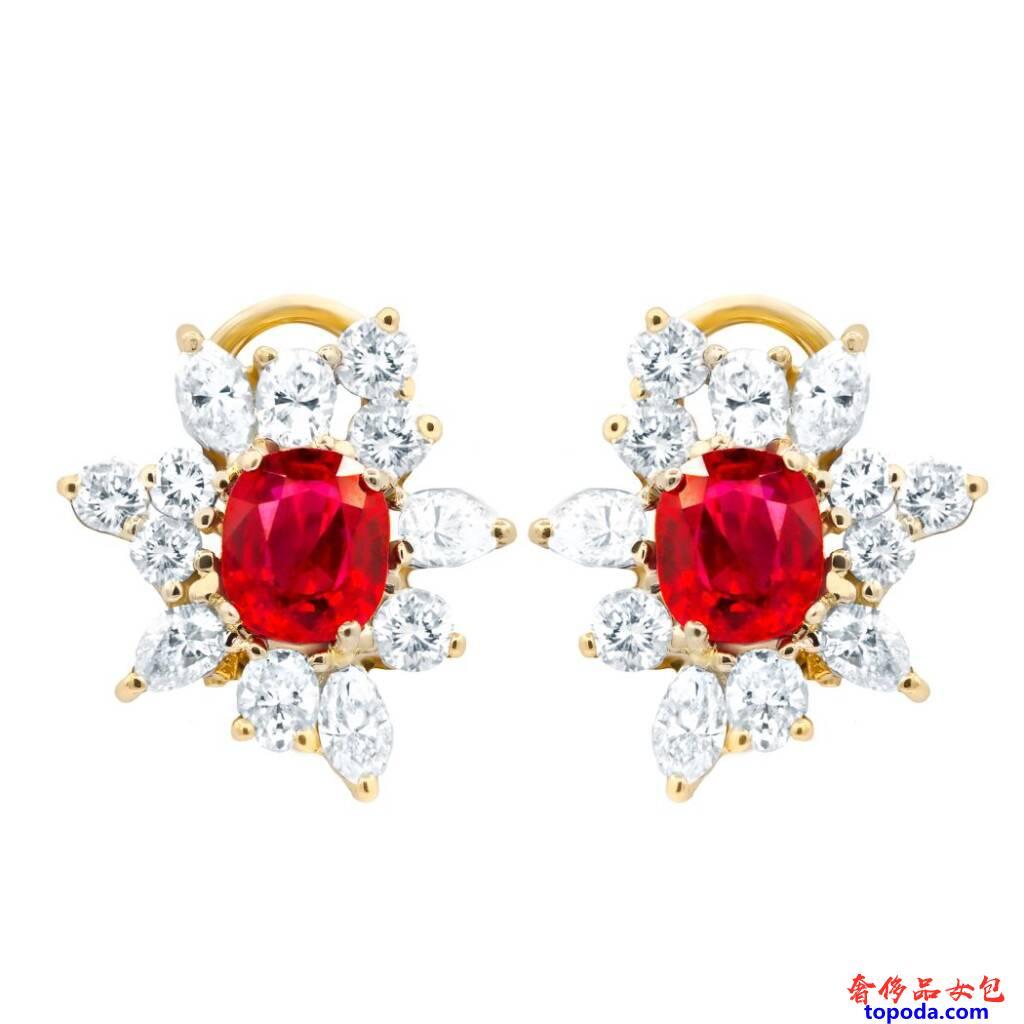 钻石和红宝石耳环
