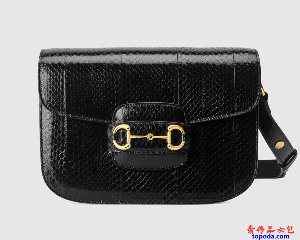 古驰Gucci 1955 Horsebit蛇皮单肩包