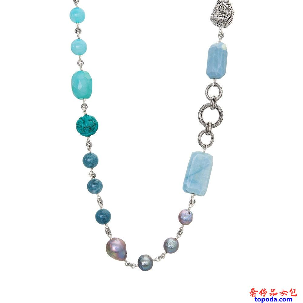 Stephen Dweck Long多石和银色珍珠项链