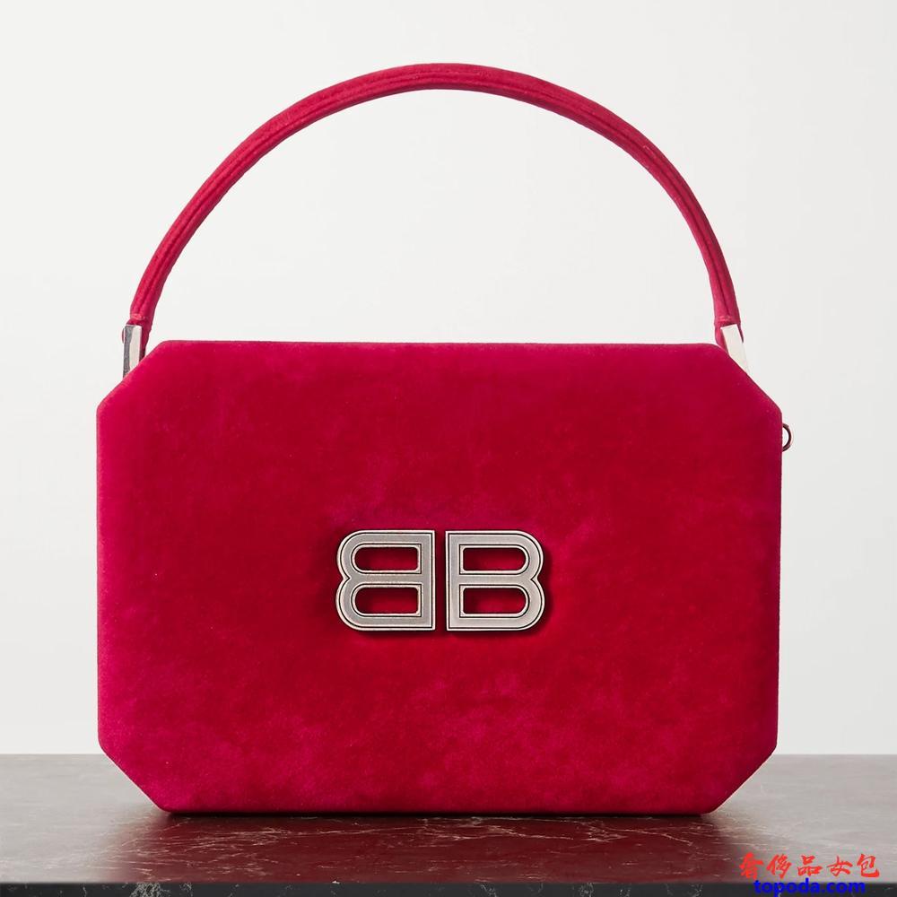 Balenciaga Octagon天鹅绒手提袋