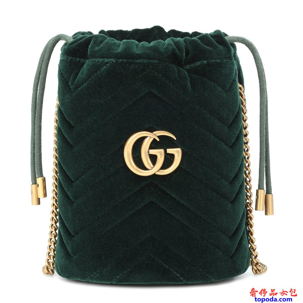 香奈儿Chanel GG Marmont迷你天鹅绒水桶包